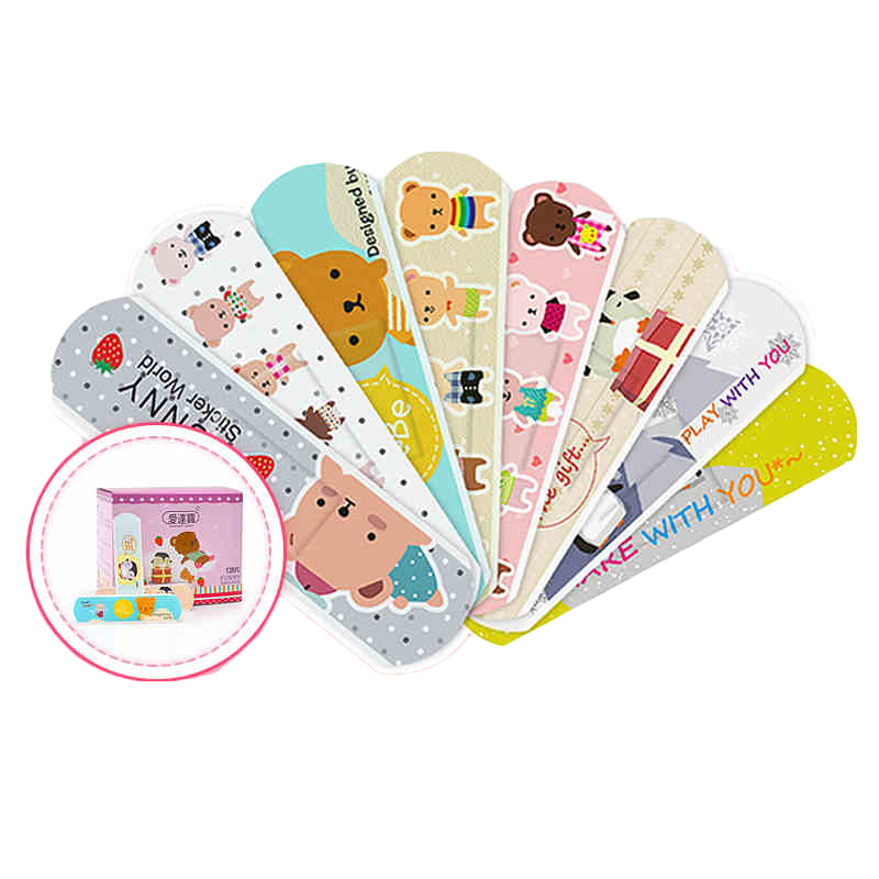 120 Pcs/box Cartoon Cute Band Aid Breathable Hemostasis Adhesive Bandages First Aid Emergency Kit Kids Children Mini Band Aid