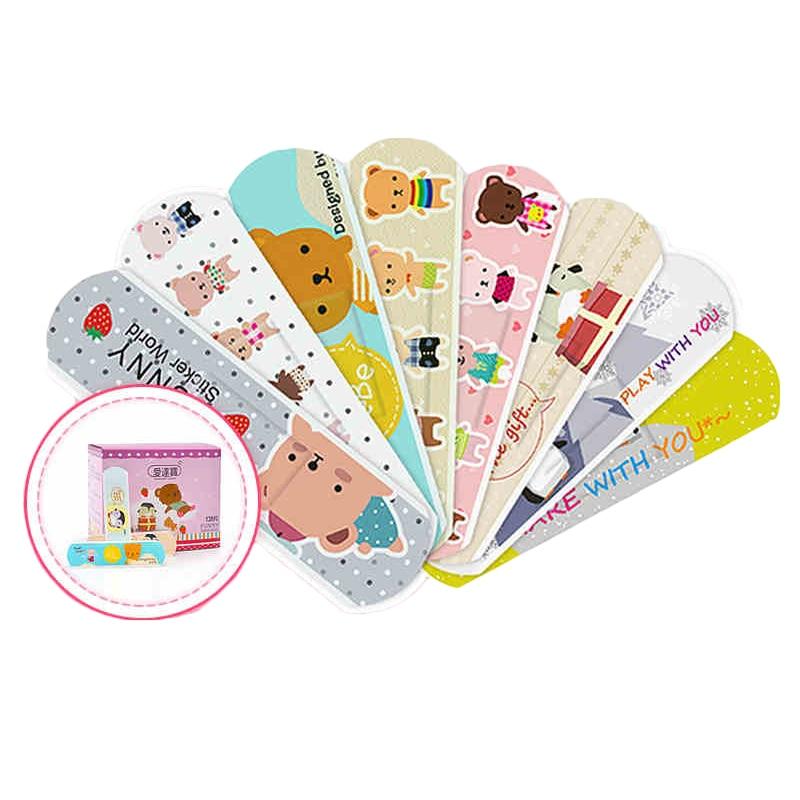 120 Pcs/box Cartoon Cute Band Aid Breathable Hemostasis Adhesive Bandages First Aid Emergency Kit Kids Children Mini Band Aid