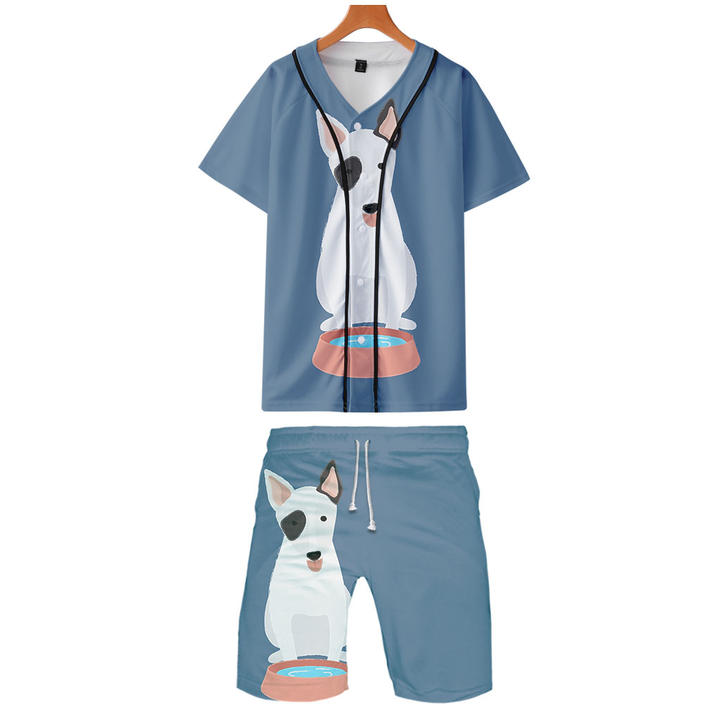 2019 Terrier 3D Print Street Kpop Cool Man 2 Pic Set Basic Summer Fashion Hip Hop Street Baseball Shirt+Short Pants Sets