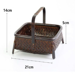 Image 5 - Bamboo woven storage basket hand made retro bamboo woven retro dried fruit tea set box kitchen interior household items