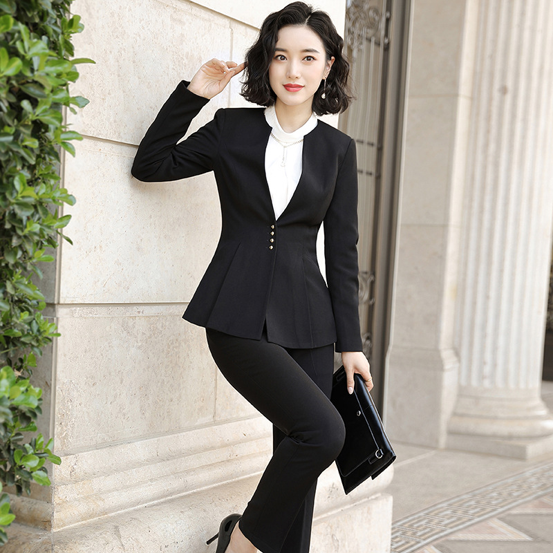 Women Clothes Work Pant Suits OL 2 Piece Sets Single-breasted Solid Blazer Jacket & Zipper Trousers Suit for Women Set Spring
