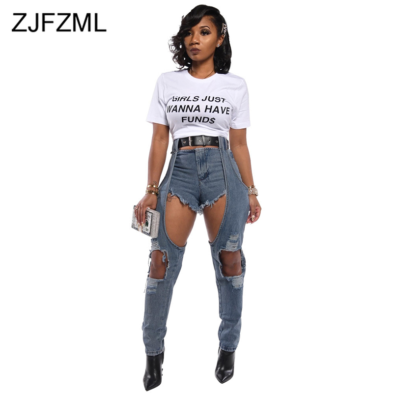 Sexy Destroyed Hole Denim Jeans For Women High Waist Spliced Ripped Jeans Plus Size Streetwear Mujer Skinny Full Length Jeans
