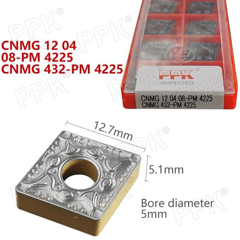 10PCS CNMG 12 04  08-PM 4225 CNMG 432-PM 4225 Internal Turning Tool CNC Carbide Insert Turning Tools Blade Cutter Lathe Blade