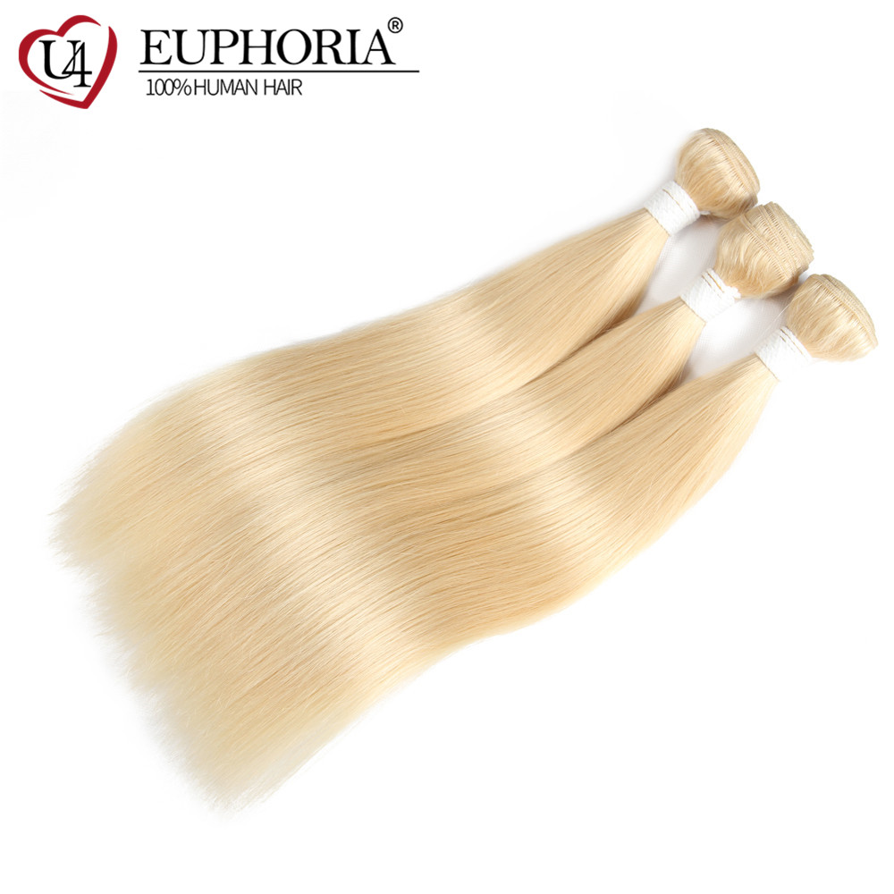 613 Blonde Hair Bundles With Closure Brazilian Straight Remy Human Hair Weaves Ombre Black Platinum Blonde Hair Weaving Euphoria
