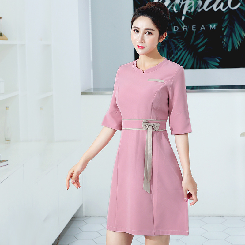 2020 Beautician Medical Overalls Hospital Nurse Uniform Seven Quarter Sleeve Women Dress Pharmacy Spa Work Clothing