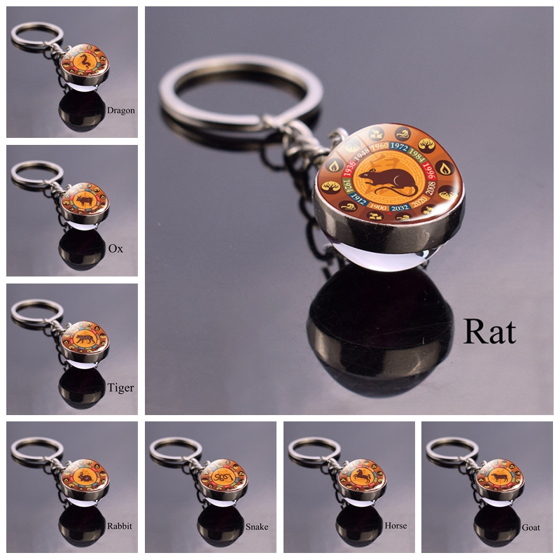 Chinese Zodiac Animal Keychain Rat Ox Tiger Rabbit Dragon Glass Ball Keychain Amulet Zodiac Key Chain Ring Keyfob Gift