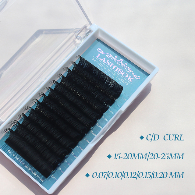 GLAMLASH Mix 7~25 mm 16 lines handmade korean pbt eyelash extension natural soft faux mink eyelashes 25mm lashes for extension 1
