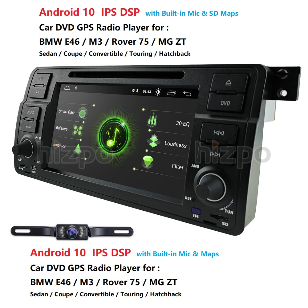 2+16 DSP IPS Car GPS Player 1 Din Android 10 For BMW E46 M3 Rover 75 MG ZT Radio Audio Stereo GPS Navigation BT 4GWIFI DVD SD PC image