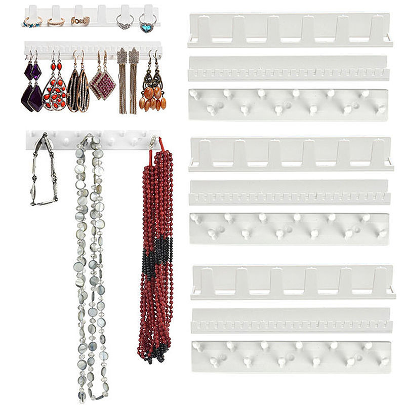 9Pcs/set Adhesive Jewelry Hooks Wall Mount Storage Holder Organizer Display Stand Ring Earring Hook Holder Stand