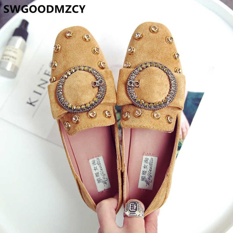 """Giày Loafer Nữ Nữ + Giày Mùa Thu Nữ Giày Nữ Giày Thương Hiệu Thời Trang Nữ Trơn Trượt Trên Mocassin Femme Zapatos Comodos Mujer """"Ayakkabı"""