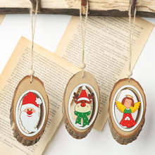 New Year Xmas Home Decoration Hanging Ornaments DIY Christmas items Wooden Craft Santa Claus Deer Pendants for Holiday