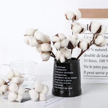 10 Head Naturally Dried Cotton Flower Artificial Plants Floral Branch For Wedding Party Decoration Fake Flowers Home Decor