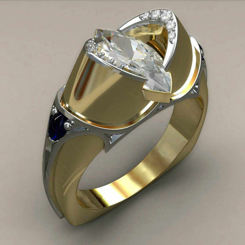 Luxury ชายหญิงคริสตัลหินแหวนทอง 925 เงินเครื่องประดับสัญญาหมั้นแหวนผู้ชายและผู้หญิง