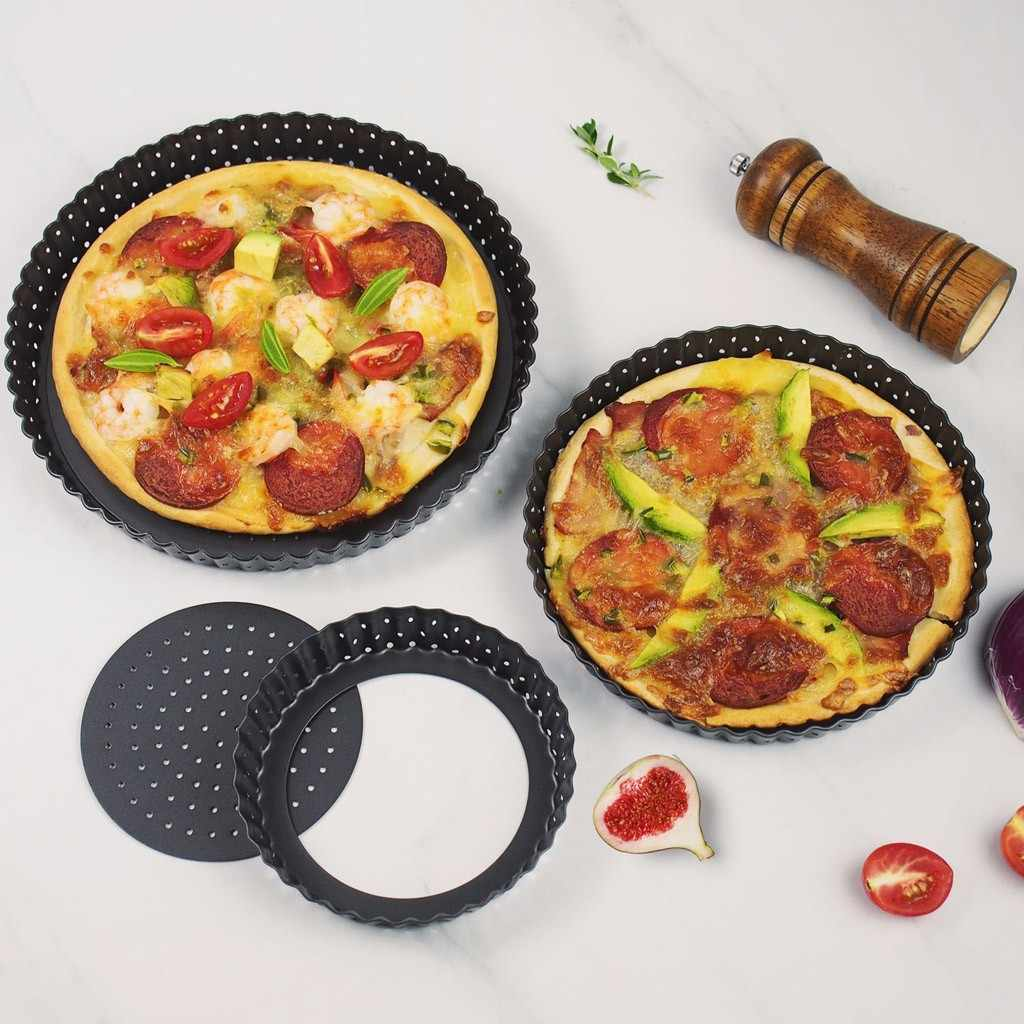 Small Pizza Pans With Holes Steel Perforated Pizza Crisper Pan Pizza Tray Pancake Pizza Baking Tray Bakeware Kitchen Baking Tool