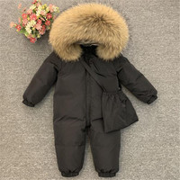 30 Degrees Baby Winter Down Rompers Jacket Plus Velvet Real Fur Super Warm Outerwear Parkas Coat Toddler Boys Girls Snowsuit
