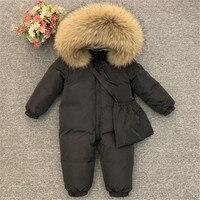 30 Degrees Baby Winter Down Rompers Jacket Plus Velvet Real Fur Super Warm Outerwear Parkas Coat Toddler Boys Girls Snowsuit