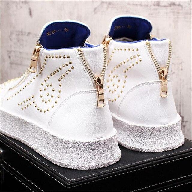 Zapatillas de deporte de diseñador de lujo para Hombre, zapatos informales estilo Punk, Hip Hop, botas altas planas de cuero con cremallera, botines 2
