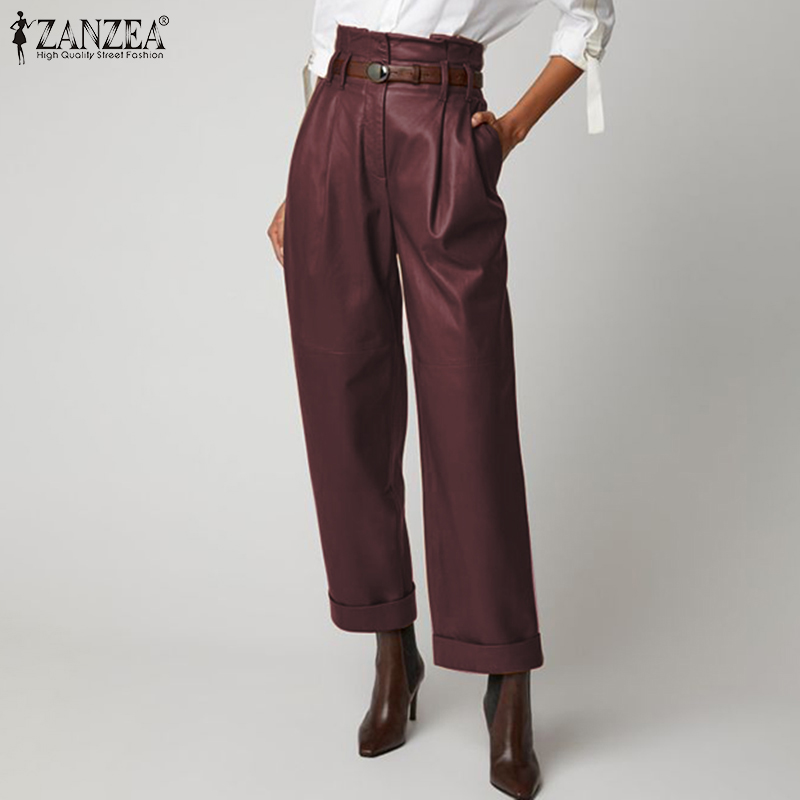 Fashion PU Leather Trousers Women's Wide Leg Pants ZANZEA 2020 Casual Button Zip Long Pantalon Female Black Turnip Plus Size