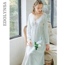 Zarif siyah uyku elbise sonbahar pijama fener kollu V boyun papyon uzun pijama gecelik pamuk gecelik sabahlık T152