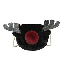 Vento Marea 2019 New Women Winter Faux Fur Shoulder Bag Handbag Female Party Small Girls Cute Deer Shape Tote Christmas Gift