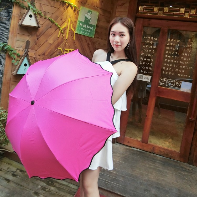 Open Water Color Changing All-Weather Umbrella Korean-style Vinyl Parasol College Style UV-Protection Three-fold Umbrella