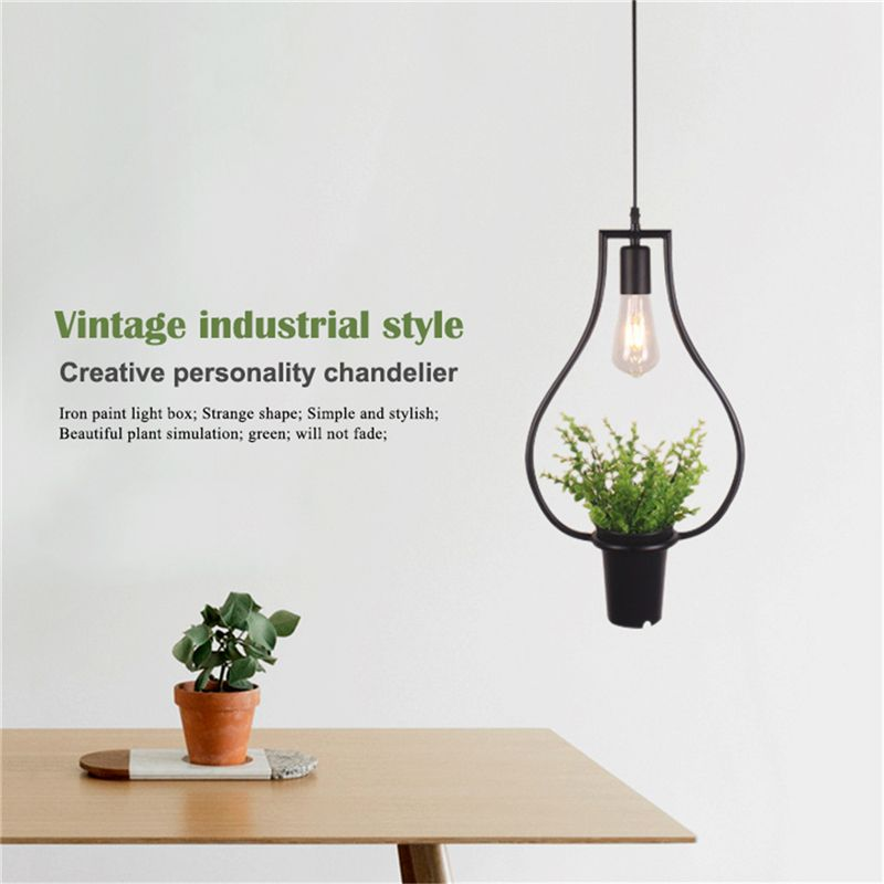 Black Vases Green Plants Hanging Lamps Retro Industrial Style Creative Personality Chandelier Clothing Shop Cafe Restaurant Ligh