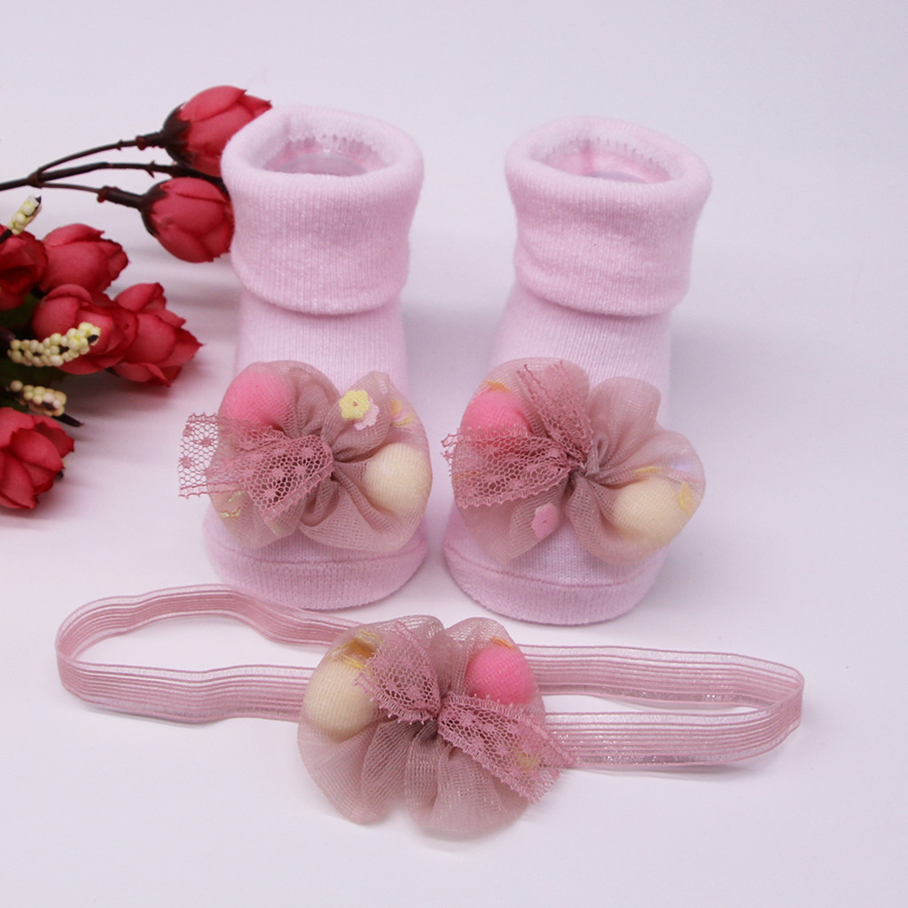 Children's Socks носки детские Baby Winter Solid Color Infant Socks +1PC Hair Belt Toddler Girls Anti-slip Applique Socks H5