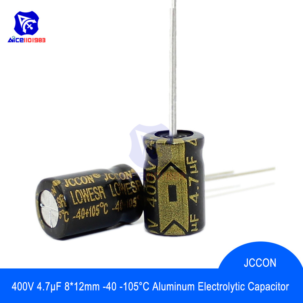 10PCS/Lot Aluminum Electrolytic Capacitor 400V 4.7μF 8x12mm High Frequency Low ESR -40 -105℃ 400V4.7μF 8*12mm Capacitor