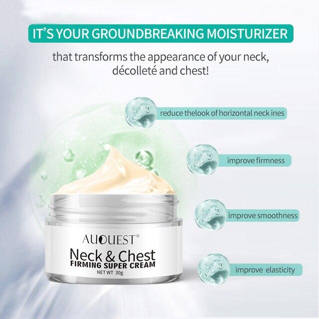 Crema de arrugas para el pecho con cuello AuQuest crema reafirmante para la piel crepé seca crema hidratante y levantadora para el cuidado de la piel sin edad 1