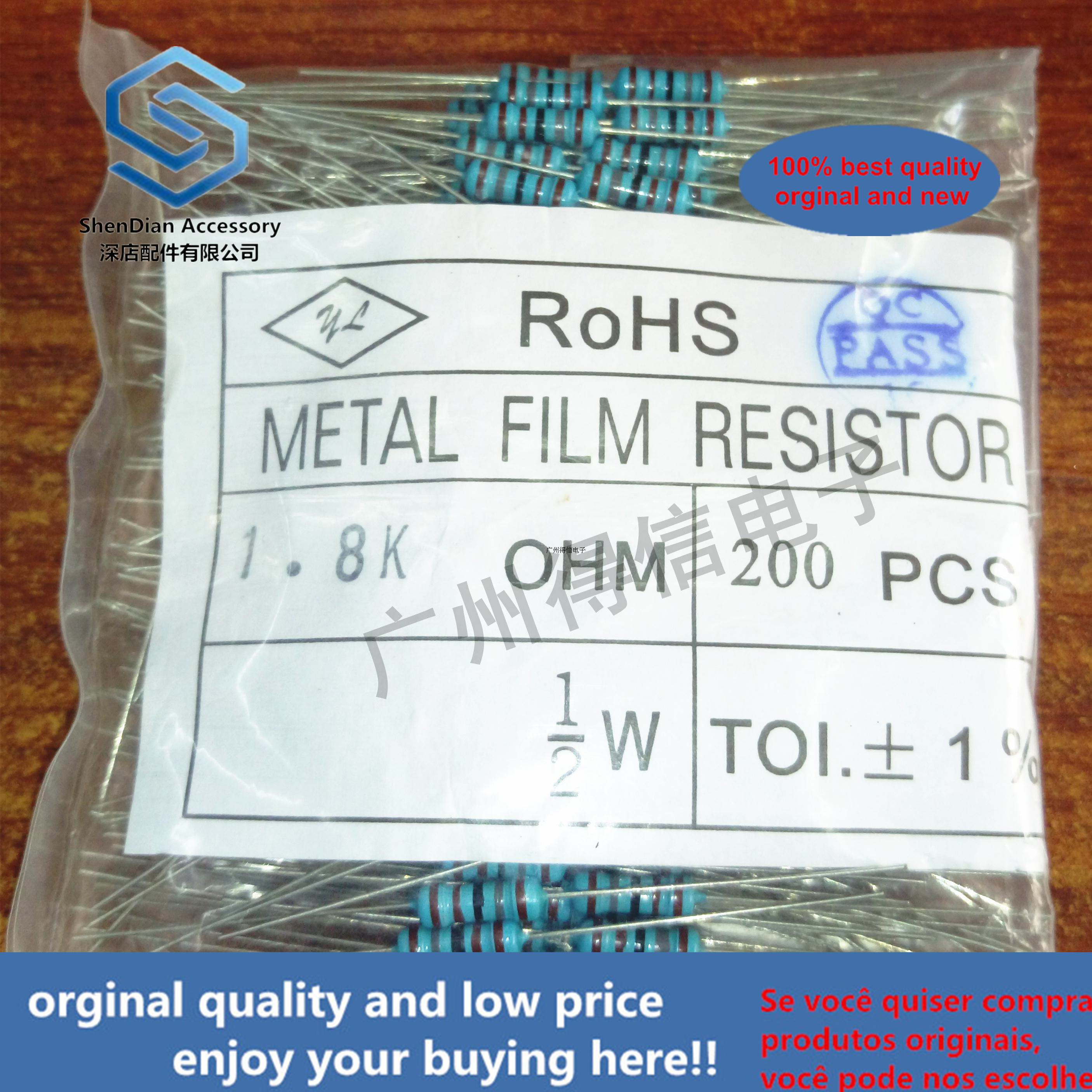 200pcs 1 / 2W 1.8M 1% Brand New Metal Film Iron Feet Resistance Bag Pack 200 Pcs
