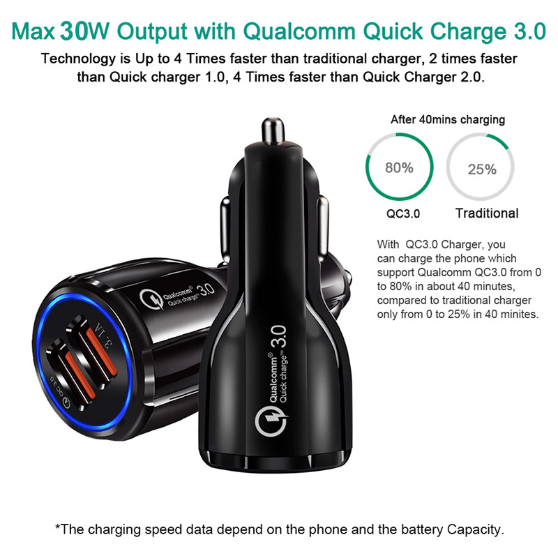 Cheap Quick Charge QC3.0 USB Car Charger For Xiaomi mi 9 Huawei P30 Dual Ports USB 3.1A Car Charging Phone Charger