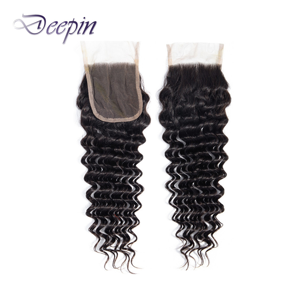 Deep Wave Closure 4x4 Lace Closure Free/Middle/Three Part 8-20 Inches Non-Remy Deepin  Malaysia Human Hair Natural Color