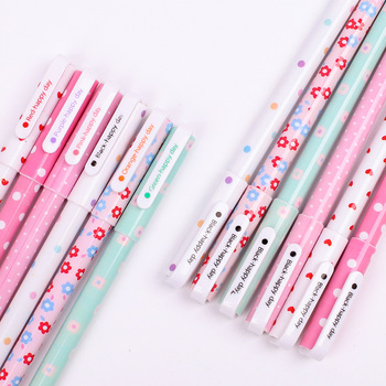6 pcs/set color flower pen black gel 0.38mm cute pens for student kawaii school office stationary supplies cartoon style