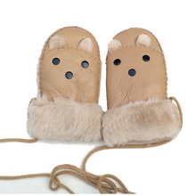 2019 Winter Baby Boys Girls Sheepskin wool-one Gloves Warm Rope Full Finger Mittens Gloves bonus gloves the one