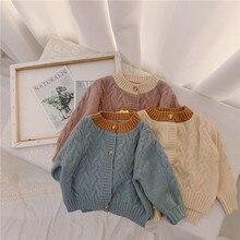 Детский свитер для активного отдыха осенне-зимний детский вязаный кардиган в Корейском стиле, тонкое пальто для маленьких детей модная одежда для девочек