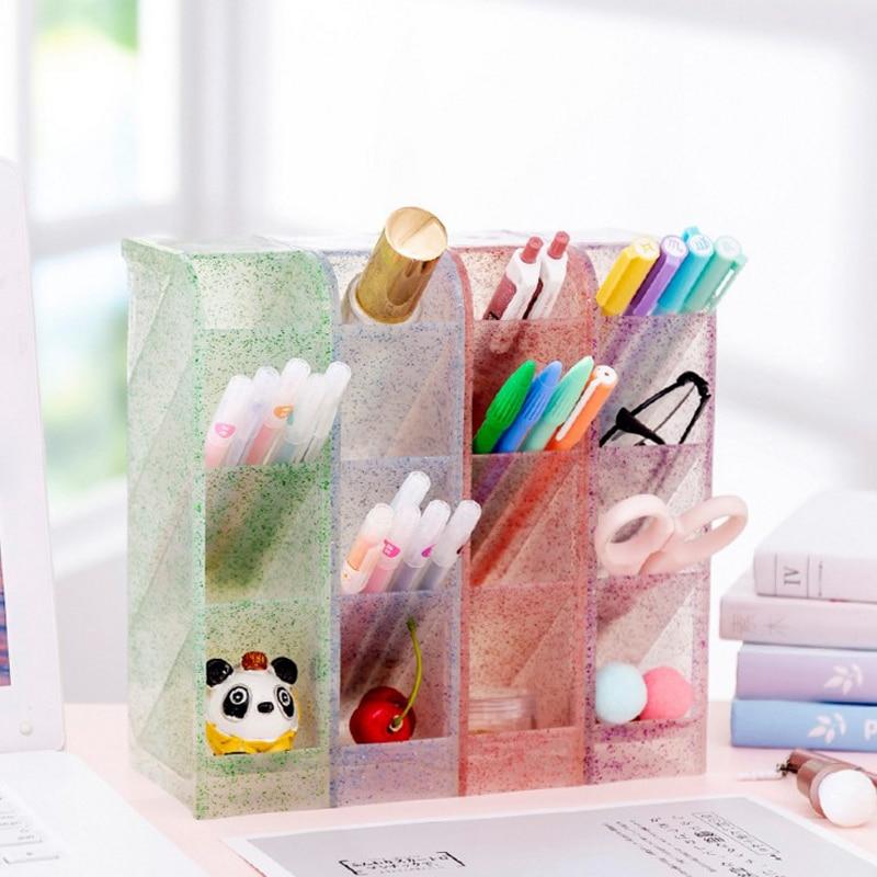 1 Pcs Kawaii Multi-function Obliquely Inserted 4 Grid Desktop Pen Holder Office School Storage Case Desk Pen Pencil Organizer