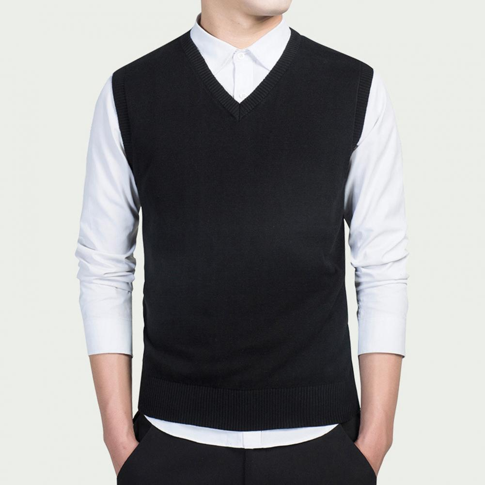 Men Autumn Winter Solid Color Sleeveless V Neck Knitted Sweater Business Vest 3