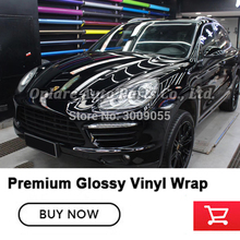 Highest quality  black Glossy Vinyl Wrapping film gloss black vinyl low initial tack adhesive with air release 5m/10m/18m roll