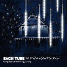 Cadena de luces LED de 50cm para lluvia de meteoritos para exteriores Cadena de luces LED impermeable para árbol, decoración para fiesta de boda, 2021