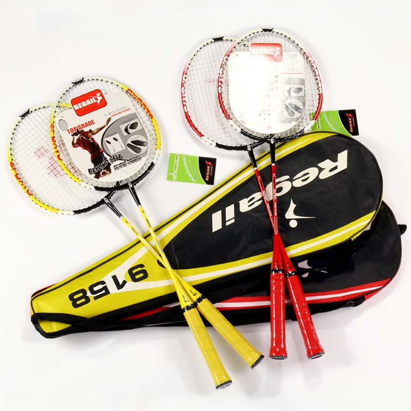 2 Pairs Alloy Badminton Racket Fiber Mesh Line Good Elasticity Durable Badminton Racket Amateur Primary Racquet Training Sports