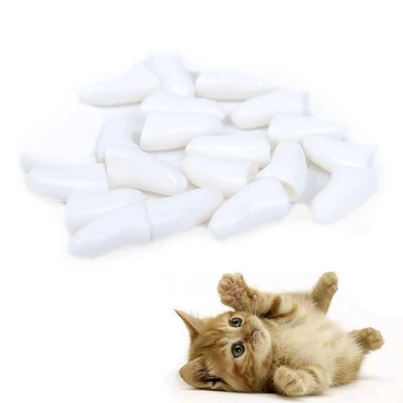 20Pcs 부드러운 고양이 네일 모자 고양이 네일 커버 발톱 애완 동물 부드러운 실리콘 네일 수호자 강아지 개 발톱 장식 애완 동물 네일 케어