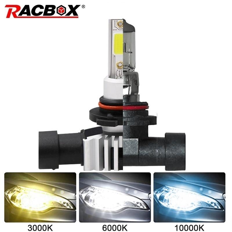 RACBOX Car Headlight Bulb Replace Halogen Bulb H4 H1 H3 H7 H11 H9 H8 H27 880 881 9005 HB3 9006 HB4 LED Lamp 3000K 6000K 10000K