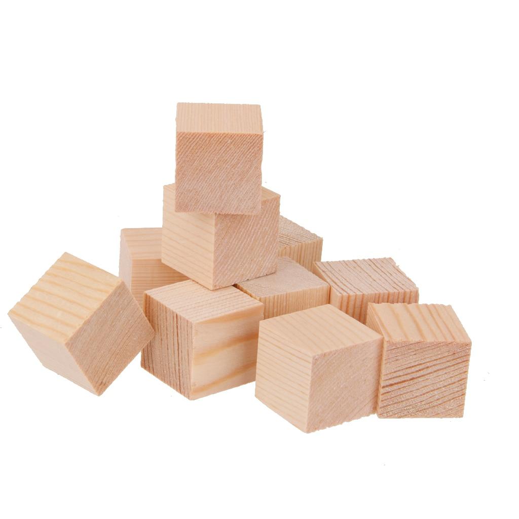 10Pcs Natural Wooden Cubes Embellishment For Craft 25x25x25mm