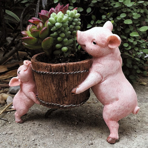 Fairy Garden Resin Animal Miniature Figurines Pig Statue Adornment Outdoor Garden Decoration Desk Decorations Courtyard Crafts