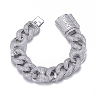 18MM Bling AAA CZ Cubic Zirconia Iced Out Box Clasp Luxury Cuban Link Chain Bracelet For Men Hip Hop Rapper Jewelry