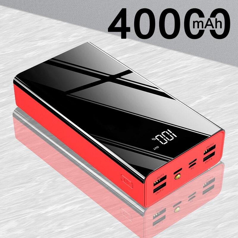Внешний аккумулятор 40000 мАч, 4 USB выхода, быстрая зарядка, внешний аккумулятор с цифровым дисплеем, портативное Внешнее зарядное устройство д...