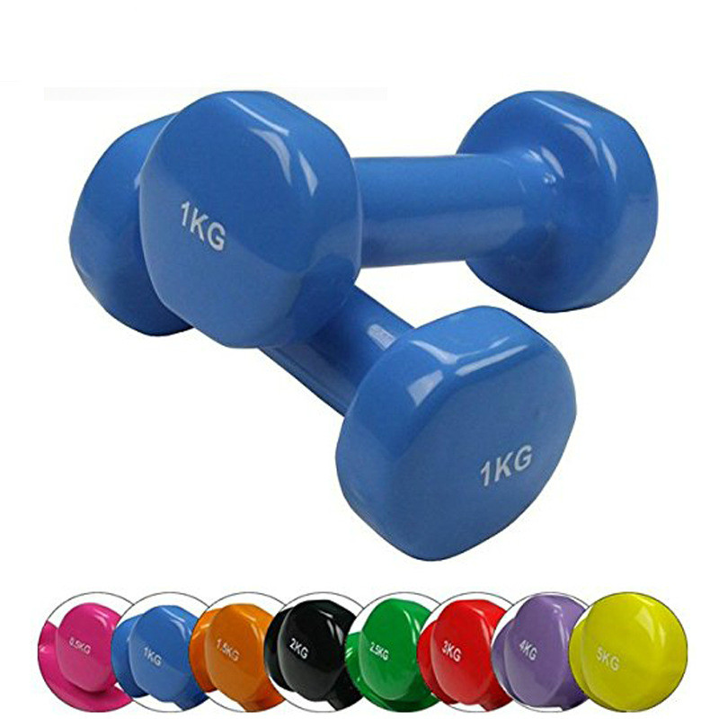 Factory Direct Selling Pvc Pvc Coated Dumbbell Women's Small Dumbbell Flat Aerobics Dumbbell Gym