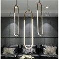 Скандинавское золото светодиодный Люстра в форме кольца личность Акриловая кабинет люстра крепежные детали внутреннего светильника 220 В