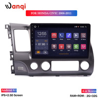 wan qi 2G RAM 32G ROM 10.1inch Car Audio Player For Honda civic 2006 2011 stereo gps navigation system