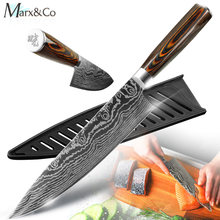 Keukenmes 8 Inch Japanse Chef Messen 7CR17 440C Rvs Set Laser Damascus Tekening Slicer Vlees Santoku Cleaver Tool(China)